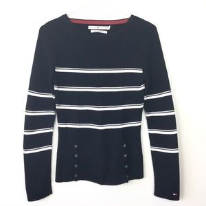 Retro Tommy Hilfiger black striped sweater size s